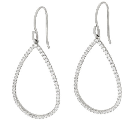 Diamonique Pave' Teardrop Dangle Earrings Sterling or 18K Clad