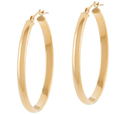 "EternaGold 1-1/4"" Classic Domed Oval Hoop Earrings 14K"