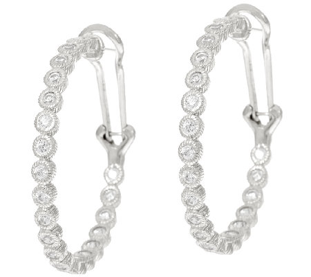 Judith Ripka Sterling 118 Facet Diamonique Hoop Earrings