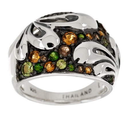 """As Is"" Ann King Sterling 0.70 cttw Gemstone Fleur Ring"
