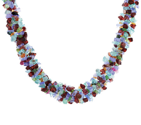 """As Is"" 250.00 ct tw Multi-Gemstone Exotic Sterling Necklace"