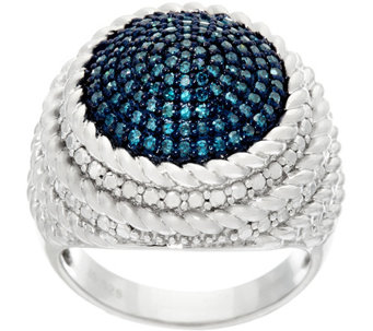 Round Pave' Diamond Ring, Sterling, 1/2 cttw, by Affinity - J326893