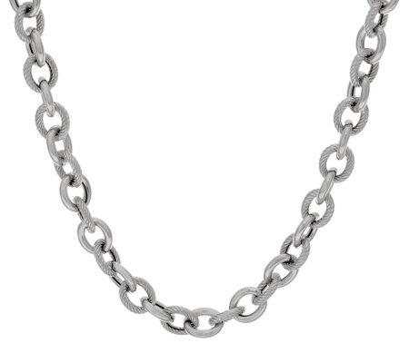 """As Is"" Italian Silver Sterling 24"" Textured & Polished Rolo Necklace, 44.4g"