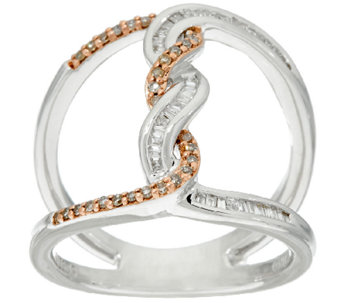 Baguette & Pave' Diamond Ring, 3/10 cttw Sterling by Affinity - J327893