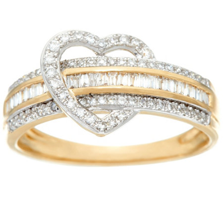 Baguette Diamond Heart Band Ring, 14K, 1/3 cttw, by Affinity