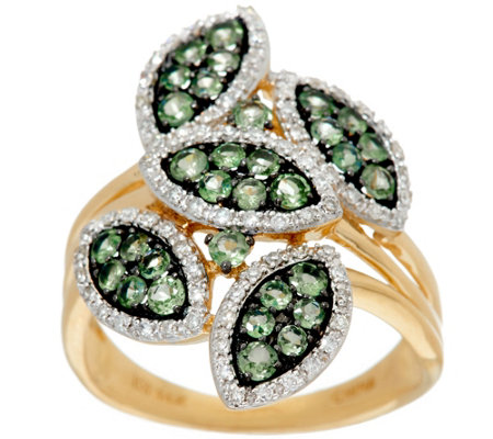 Marquise Shaped Pave' Alexandrite & Diamond Ring 14K, 0.80 cttw
