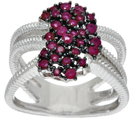 Precious Gemstone Waterfall Design Sterling Ring, 0.65 cttw