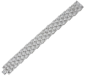 "Vicenza Silver Sterling 7-1/4"" Textured Woven Bracelet, 55.1g - J329393"