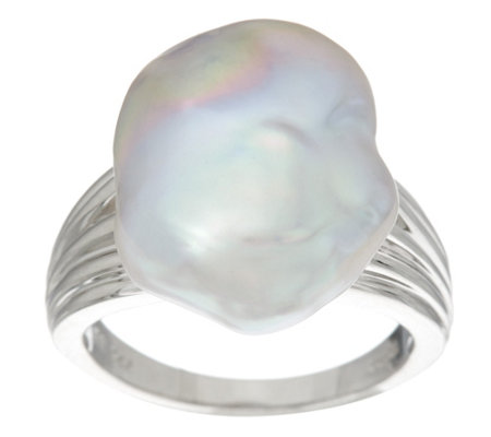 Honora Cultured Pearl 13.0mm Baroque Sterling Ring