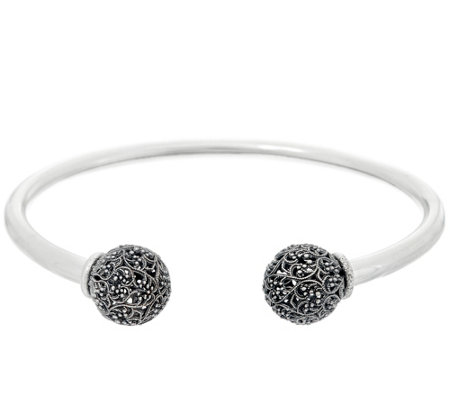 Sterling Silver Lace Bead Cuff by Or Paz 10.5g