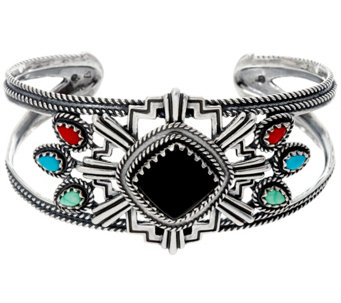 Sterling Silver Zia Collection Statement Cuff by Fritz Casuse - J330493