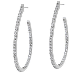 "Diamonique 1.90 cttw Oval Hoop 1-3/4"" Earrings Sterling - J330593"