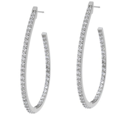 "Diamonique 1.90 cttw Oval Hoop 1-3/4"" Earrings Sterling"