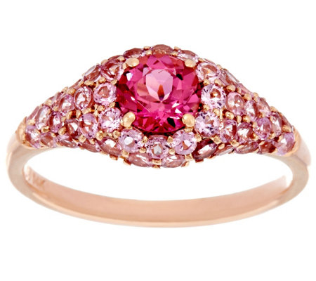Pink Tourmaline Pave' Band Ring 14K Gold 1.50 cttw