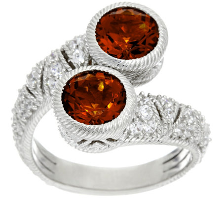 Judith Ripka Sterling Silver Madeira Citrine & Diamonique Estate Ring