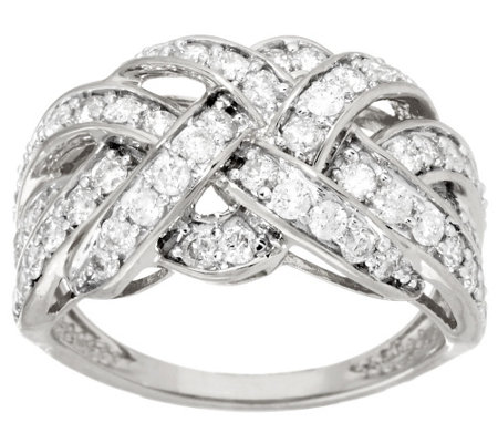 """As Is"" Braid Design Diamond Ring, 14K Gold, 1.00 cttw by Affinity"