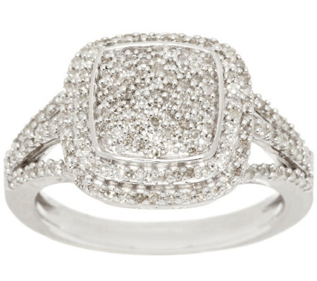 """As Is"" Pave' Cushion Design Diamond Ring Sterl. 1/2cttw by Affinity"