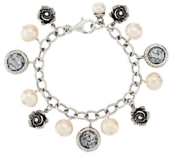 """As Is"" Or Paz Cultured Pearl & Roman Glass Sterling Charm Bracelet - J333493"