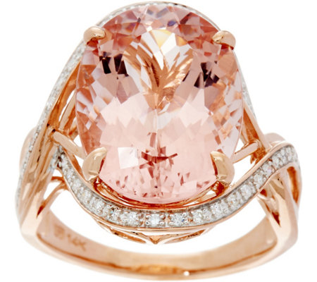 Oval Morganite & Diamond Bold Cocktail Ring, 14K Gold 7.30 ct