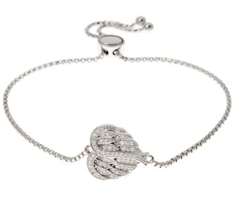 Diamonique Adjustable Angel Wing Bracelet, Sterling - J333793