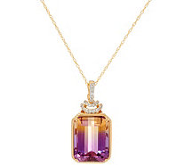 "Emerald Cut Ametrine & Diamond Enhancer on 18"" Chain, 14K - J335193"