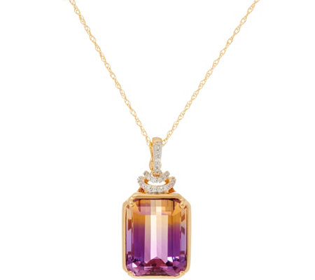 "Emerald Cut Ametrine & Diamond Enhancer on 18"" Chain, 14K"