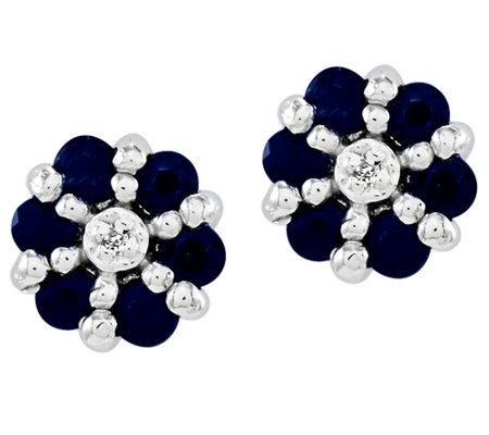 Sterling Choice of Gemstone Flower Stud Earrings