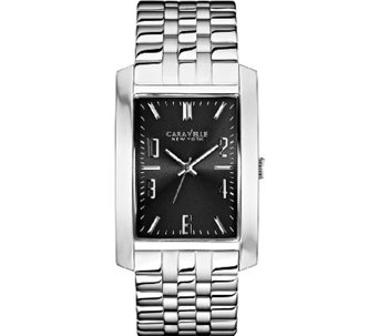 Caravelle New York Men's Rectangular SilvertoneWatch - J336793