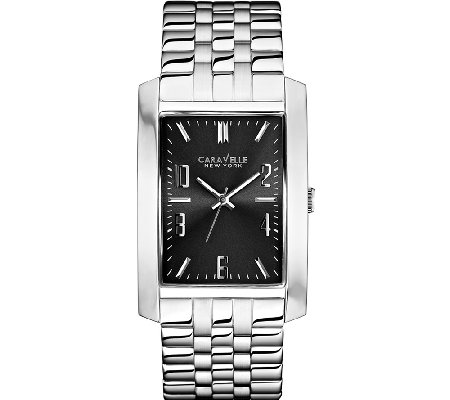 Caravelle New York Men's Rectangular SilvertoneWatch