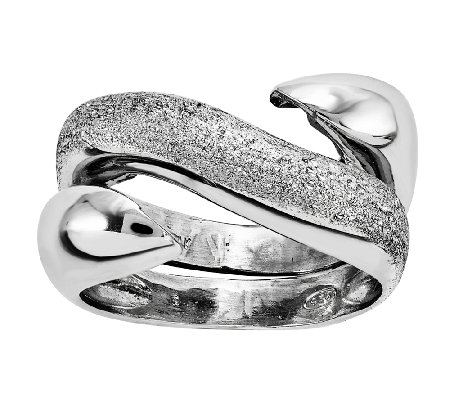Sterling Textured & Polished Swirl Wrap Ring
