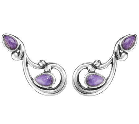 Carolyn Pollack Sterling Gemstone Ear Climber Earrings