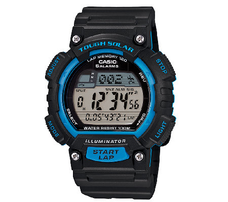 Casio Men's Black and Blue Tough Solar RunningWatch