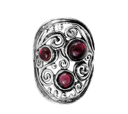 Sterling Silver Garnet Swirl & Bead Elongated Ring by Or Paz