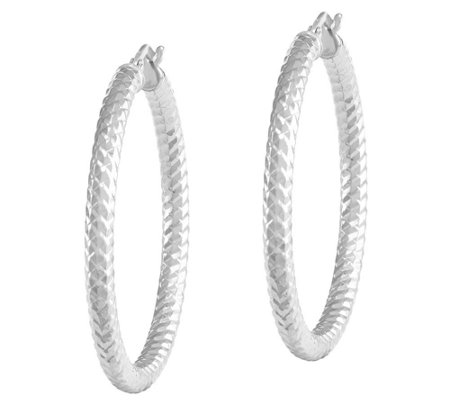 Polished and Textured Round Hoop Earrings, 14KGold