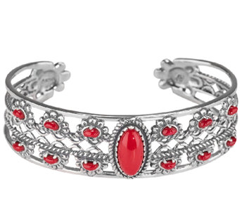 American West Red Coral Floral Cuff Bracelet, Average - J339893
