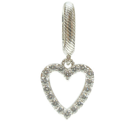 Judith Ripka Sterling Diamonique Heart Charm