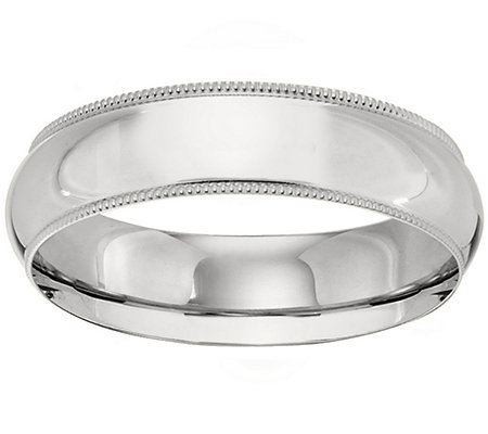 Platinum 6mm Milgrain Comfort Fit Wedding BandRing