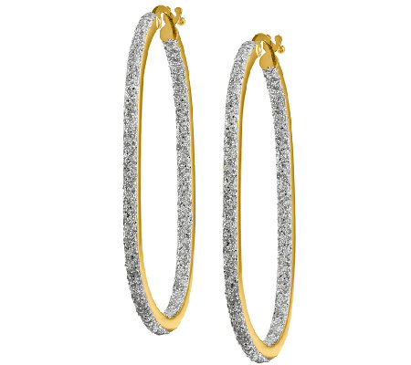 Oblong Inside-Out Hoop Earrings, 14K Yellow Gold
