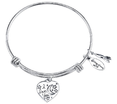 Sterling Expandable Love Charm Bangle by Extraordinary Life