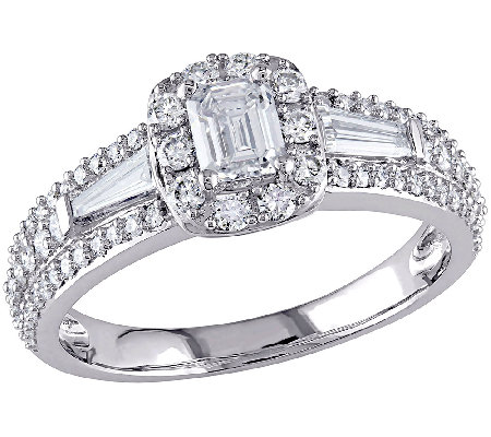 Multi-Cut Halo Diamond Ring, 1.00cttw, 14K Gold, by Affinity