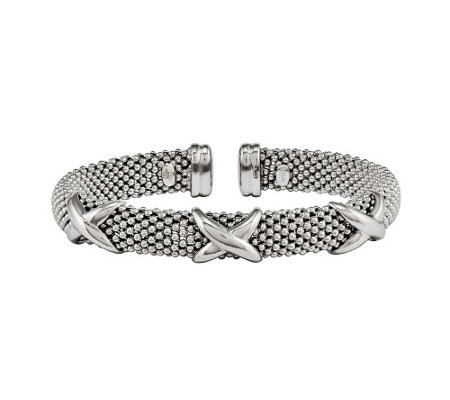 "Sterling Polished ""X"" Mesh Flexible Cuff by Silver Style"