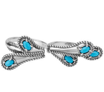 Carolyn Pollack Sterling Turquoise Double Finger Ring - J342293