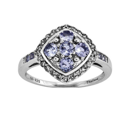Sterling 0.50 cttw Tanzanite and 1/4 cttw Diamond Ring