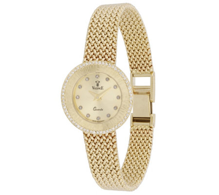 Vicence Round Case 1/3 cttw Diamond Woven Watch, 14K