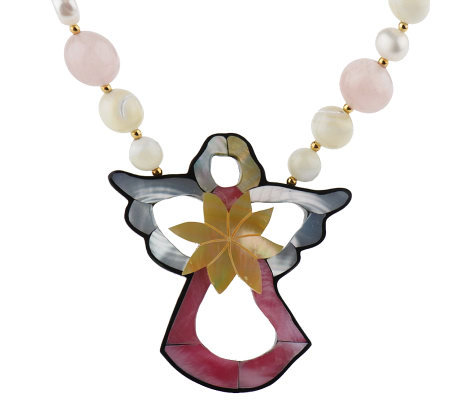 Lee Sands Bead & Cultured Pearl Necklace w/CutOut Angel Inlay
