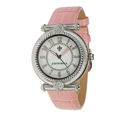 Judith Ripka Stainless Steel Leather Parisian Watch