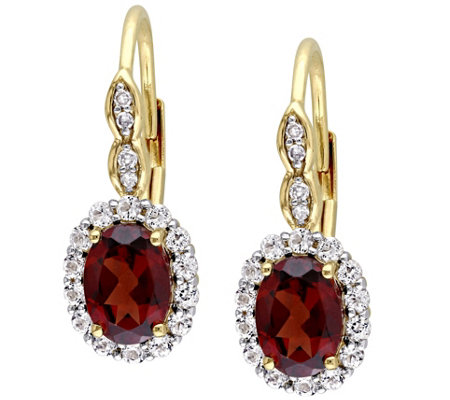 14K Yellow Gold 2.70 cttw Garnet & White TopazEarrings