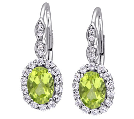 2.45 cttw Peridot & White Topaz Earrings, 14K
