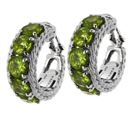 Judith Ripka Sterling & 12.30cttw Peridot HoopEarrings