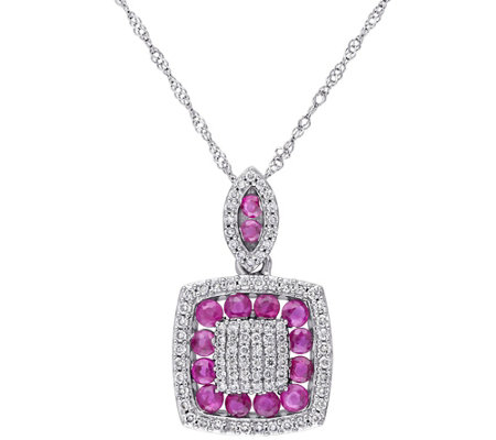 0.80 cttw Ruby & 1/3 cttw Diamond Pendant w/ Chain, 14K
